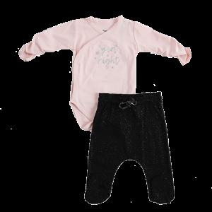 סט בגד גוף עם כיתוב מטאלי סופר עכשווי מעוצב בהתאם לגיל התינוק במידות ניו-בורן 0-3